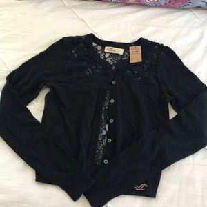 Hollister lace cardigan button sweatshirt navy s